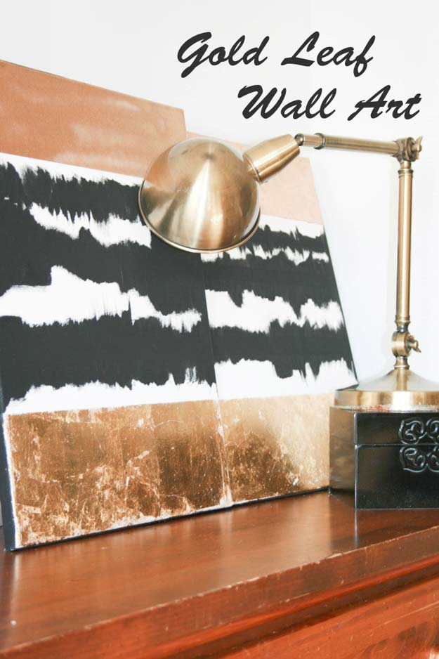 DIY Room Decor Ideas in Black and White - DIY Gold Leaf Wall Art - Creative Home Decor and Room Accessories - Cheap and Easy Projects and Crafts for Wall Art, Bedding, Pillows, Rugs and Lighting - Fun Ideas and Projects for Teens, Apartments, Adutls and Teenagers