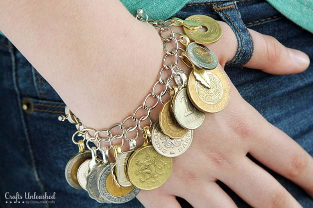 Cool DIYs Made With Pennies and Coins - Repurposed Foreign Coin DIY Charm Bracelet - Penny Walls, Floors, DIY Penny Table. Art With Pennies, Walls and Furniture Make With Money and Coins. Cool, Creative Tutorials, Home Decor and DIY Projects Made With Old Pennies - Cool DIY Projects and Crafts for Teens http://diyprojectsforteens.com/diy-ideas-pennies