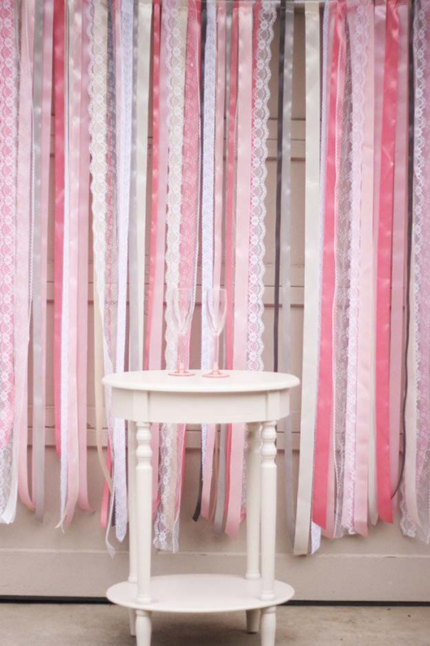 DIY Selfie Ideas - Ribbon + Lace Backdrop - Cool Ideas for Photo Booth and Picture Station - Props, Light, Mirror, Board, Wall, Background and Tips for Shooting Best Selfies - DIY Projects and Crafts for Teens
