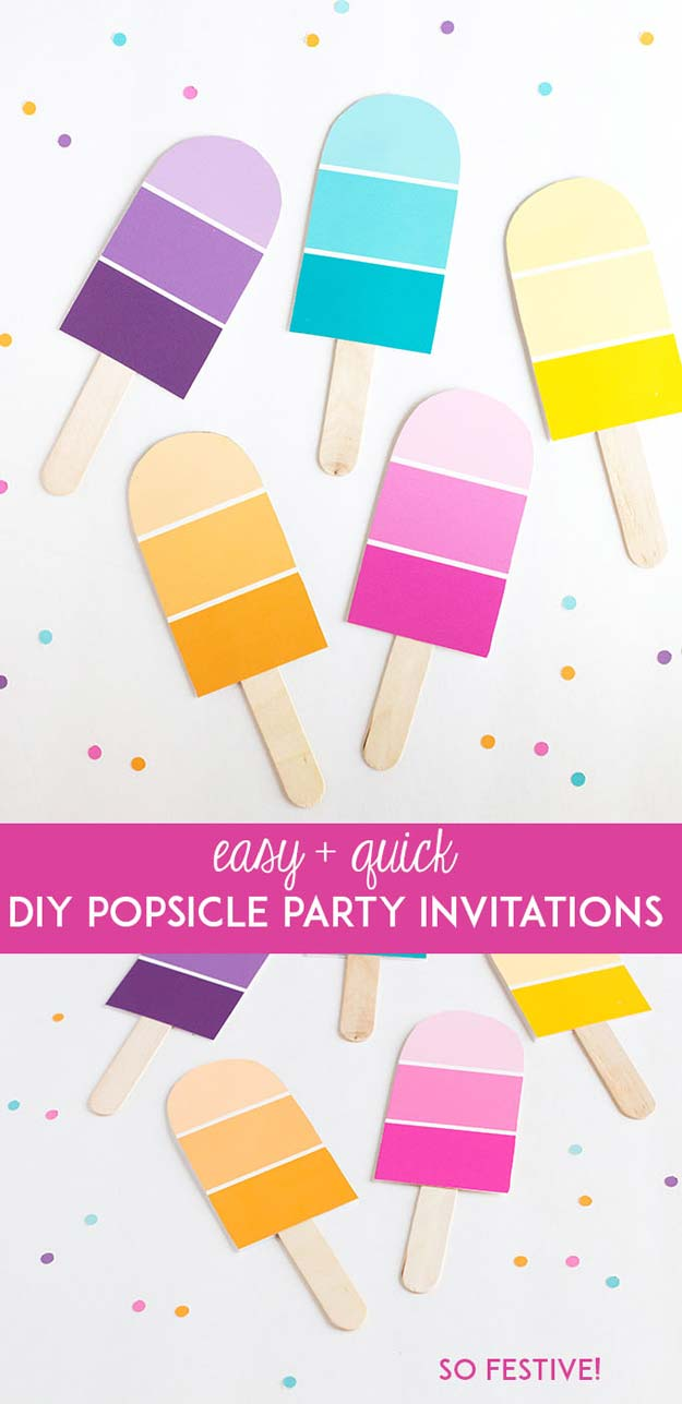 DIY Projects Made With Paint Chips - DIY Popsicle Party Invitations - Best Creative Crafts, Easy DYI Projects You Can Make With Paint Chips - Cool and Crafty How To and Project Tutorials - Crafty DIY Home Decor Ideas That Make Awesome DIY Gifts and Christmas Presents for Friends and Family http://diyjoy.com/diy-projects-paint-chips