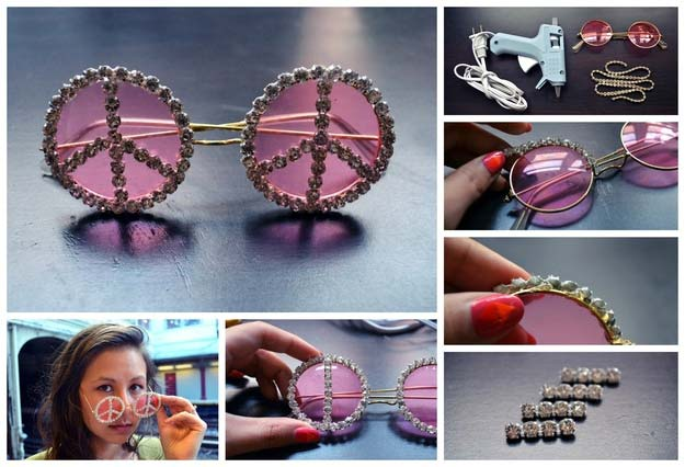 DIY Sunglasses Makeovers - DIY: Rhinestone Peace Sunglasses - Fun Ways to Decorate and Embellish Sunglasses - Embroider, Paint, Add Jewels and Glitter to Your Shades - Cheap and Easy Projects and Crafts for Teens http://diyprojectsforteens.com/diy-sunglasses-makeovers
