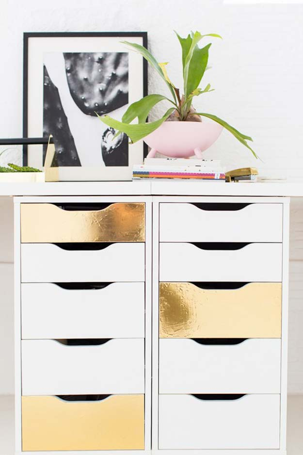 Gold DIY Projects and Crafts - Faux Brass Drawer Fronts - Easy Room Decor, Wall Art and Accesories in Gold - Spray Paint, Painted Ideas, Creative and Cheap Home Decor - Projects and Crafts for Teens, Apartments, Adults and Teenagers