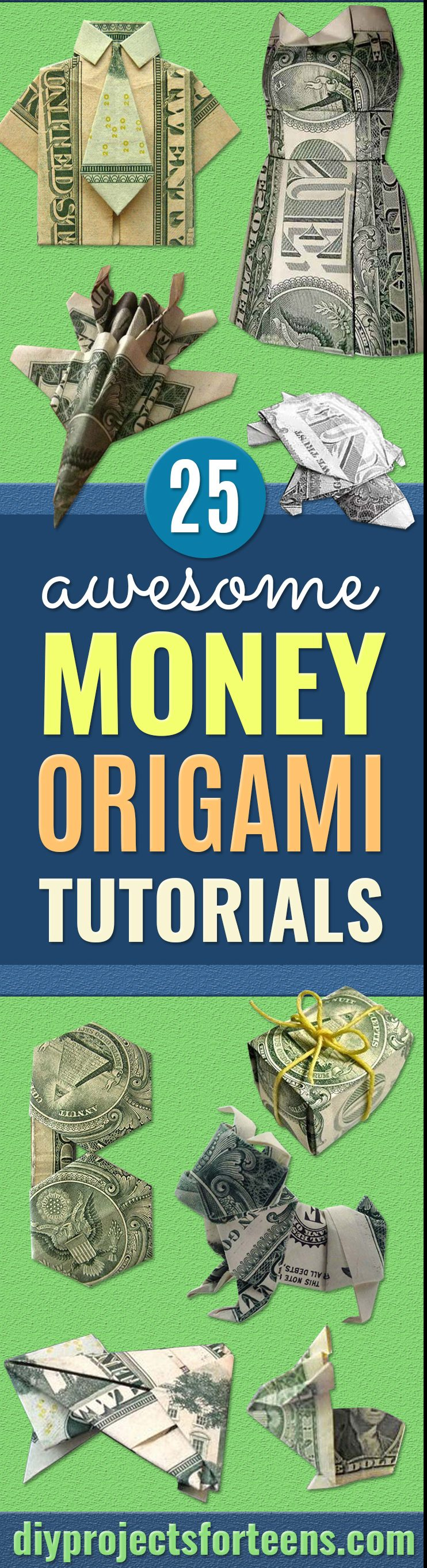 DIY Money Origami - Step by Step Tutorials for Star, Flower, Heart, Buttlerfly, Animals. Tree, Letters, Bow and Boxes - Cute DIY Gift Ideas for Birthday and Christmas Cards - DIY Projects and Crafts for Teens, Adults and Kids