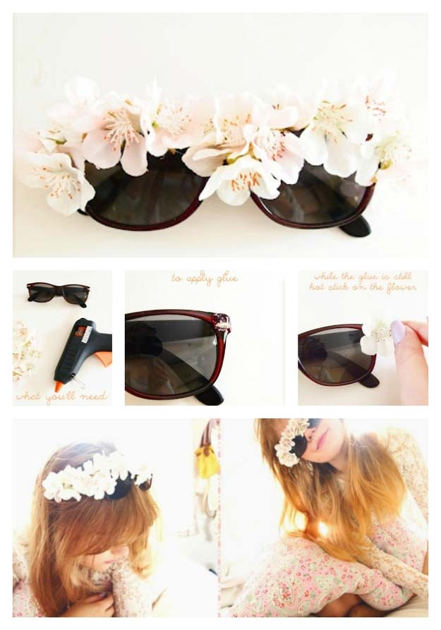 DIY Sunglasses Makeovers - Big Fake Flowers Sunglasses - Fun Ways to Decorate and Embellish Sunglasses - Embroider, Paint, Add Jewels and Glitter to Your Shades - Cheap and Easy Projects and Crafts for Teens http://diyprojectsforteens.com/diy-sunglasses-makeovers