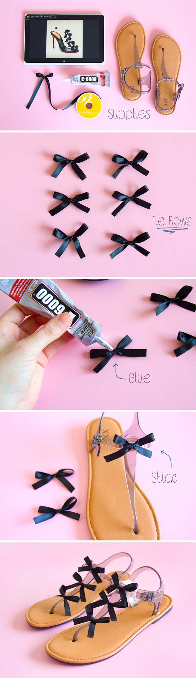 DIY Sandals and Flip Flops - DIY Game Day Bow Sandals - Creative, Cool and Easy Ways to Make or Update Your Shoes - Decorate Flip Flops with Cheap Dollar Store Crafts and Ideas - Beaded, Leather, Strappy and Painted Sandal Projects - Fun DIY Projects and Crafts for Teens and Teenagers http://diyprojectsforteens.com/diy-sandals
