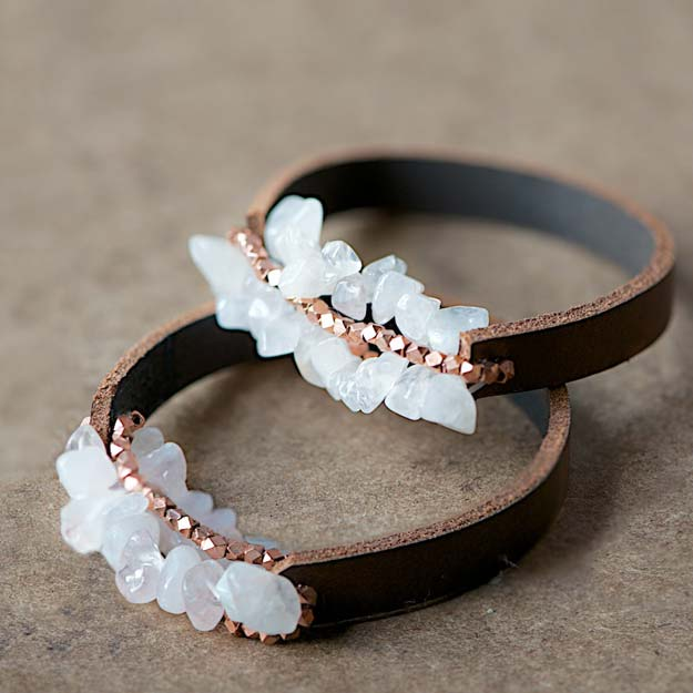 DIY Bracelets - Easy Chunky Leather Bracelet - Cool Jewelry Making Tutorials for Making Bracelets at Home - Handmade Bracelet Crafts and Easy DIY Gift for Teens, Girls and Women - With String, Wire, Leather, Beaded, Bangle, Braided, Boho, Modern and Friendship - Cheap and Quick Homemade Jewelry Ideas