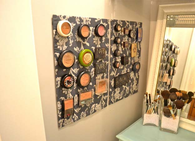 DIY Makeup Organizing Ideas - Metal Sheet Makeup Board - Projects for Makeup Drawer, Box, Storage, Jars and Wall Displays - Cheap Dollar Tree Ideas with Cardboard and Shoebox - Wood Organizers, Tray and Travel Carriers http://diyprojectsforteens.com/diy-makeup-organizing