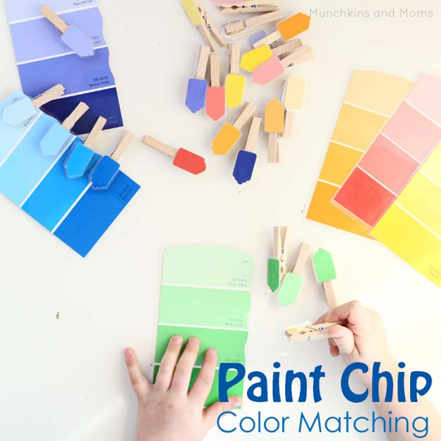 DIY Projects Made With Paint Chips - Paint Chip Color Matching Activity - Best Creative Crafts, Easy DYI Projects You Can Make With Paint Chips - Cool and Crafty How To and Project Tutorials - Crafty DIY Home Decor Ideas That Make Awesome DIY Gifts and Christmas Presents for Friends and Family