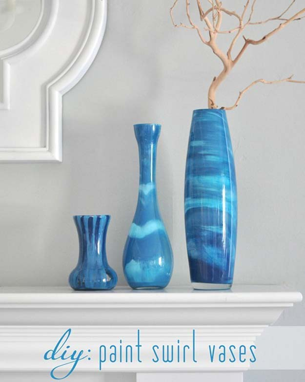 Crafts to Make and Sell - Paint Swirl Vases - Easy Step by Step Tutorials for Fun, Cool and Creative Ways for Teenagers to Make Money Selling Stuff - Room Decor, Accessories, Gifts and More http://diyprojectsforteens.com/diy-crafts-to-make-and-sell