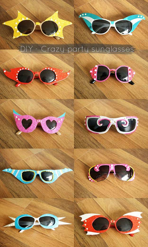 DIY Sunglasses Makeovers - DIY Crazy Party Sunglasses - Fun Ways to Decorate and Embellish Sunglasses - Embroider, Paint, Add Jewels and Glitter to Your Shades - Cheap and Easy Projects and Crafts for Teens http://diyprojectsforteens.com/diy-sunglasses-makeovers