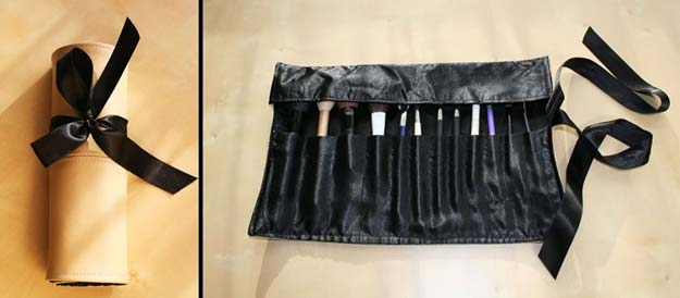DIY Makeup Organizing Ideas - Faux Leather Make-up Brush Roll - Projects for Makeup Drawer, Box, Storage, Jars and Wall Displays - Cheap Dollar Tree Ideas with Cardboard and Shoebox - Wood Organizers, Tray and Travel Carriers http://diyprojectsforteens.com/diy-makeup-organizing