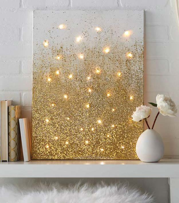 Gold DIY Projects and Crafts - Glitter and Lights Canvas - Easy Room Decor, Wall Art and Accesories in Gold - Spray Paint, Painted Ideas, Creative and Cheap Home Decor - Projects and Crafts for Teens, Apartments, Adults and Teenagers