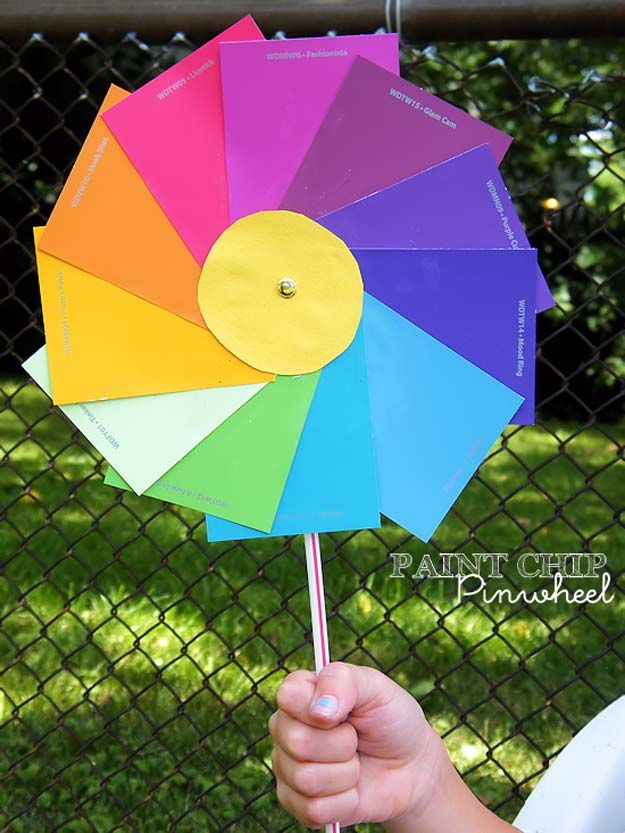 DIY Projects Made With Paint Chips - Paint Chip Pinwheels - Best Creative Crafts, Easy DYI Projects You Can Make With Paint Chips - Cool and Crafty How To and Project Tutorials - Crafty DIY Home Decor Ideas That Make Awesome DIY Gifts and Christmas Presents for Friends and Family