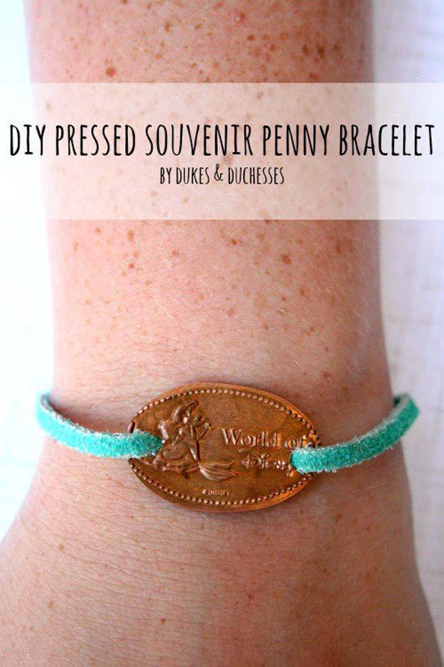 Cool DIYs Made With Pennies and Coins - DIY Pressed Souvenir Penny Bracelet - Penny Walls, Floors, DIY Penny Table. Art With Pennies, Walls and Furniture Make With Money and Coins. Cool, Creative Tutorials, Home Decor and DIY Projects Made With Old Pennies - Cool DIY Projects and Crafts for Teens