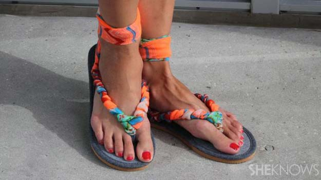 DIY Sandals and Flip Flops - DIY Sandals Made With Scarf - Creative, Cool and Easy Ways to Make or Update Your Shoes - Decorate Flip Flops with Cheap Dollar Store Crafts and Ideas - Beaded, Leather, Strappy and Painted Sandal Projects - Fun DIY Projects and Crafts for Teens and Teenagers