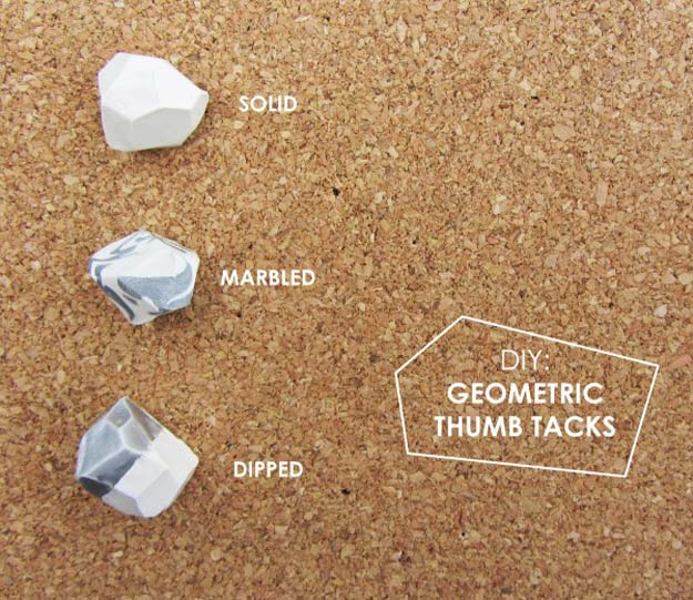 Fun DIY Ideas for Your Desk - Geometric Thumb Tacks - Cubicles, Ideas for Teens and Student - Cheap Dollar Tree Storage and Decor for Offices and Home - Cool DIY Projects and Crafts for Teens http://diyprojectsforteens.com/diy-ideas-desk