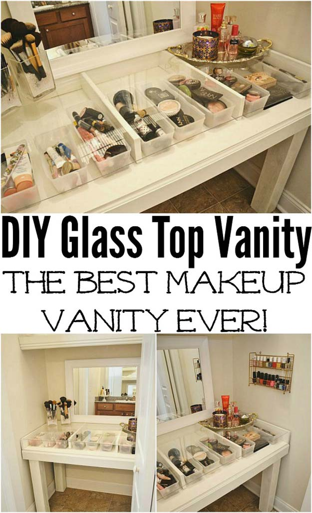 DIY Makeup Organizing Ideas - Glass Top Makeup Vanity - Projects for Makeup Drawer, Box, Storage, Jars and Wall Displays - Cheap Dollar Tree Ideas with Cardboard and Shoebox - Wood Organizers, Tray and Travel Carriers http://diyprojectsforteens.com/diy-makeup-organizing