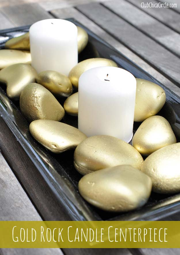 Gold DIY Projects and Crafts - Gold Rock Candle Centerpiece - Easy Room Decor, Wall Art and Accesories in Gold - Spray Paint, Painted Ideas, Creative and Cheap Home Decor - Projects and Crafts for Teens, Apartments, Adults and Teenagers