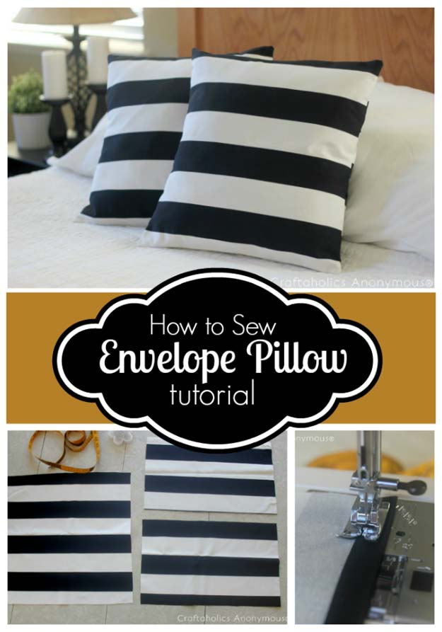 DIY Room Decor Ideas in Black and White - How to Sew Envelope Pillow Cover Tutorial - Creative Home Decor and Room Accessories - Cheap and Easy Projects and Crafts for Wall Art, Bedding, Pillows, Rugs and Lighting - Fun Ideas and Projects for Teens, Apartments, Adutls and Teenagers