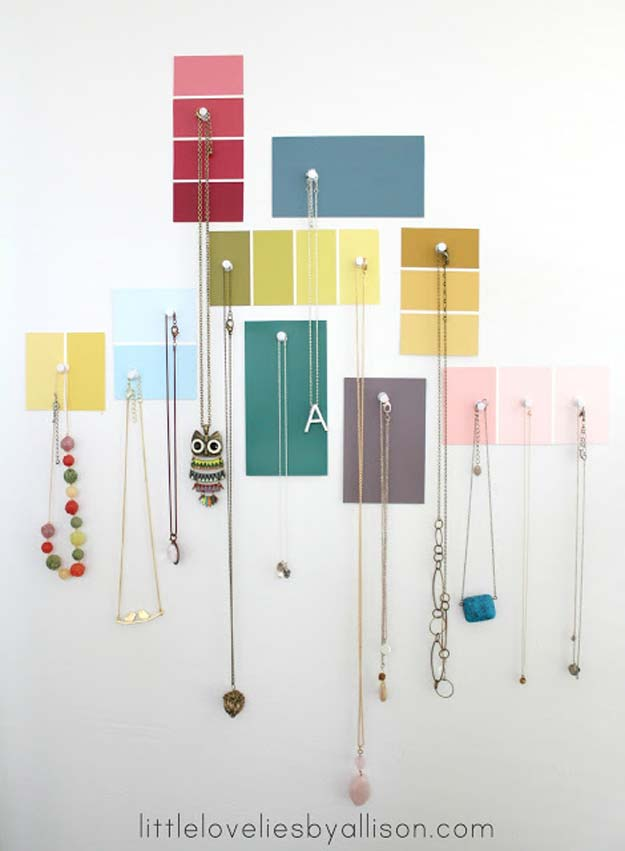 DIY Projects Made With Paint Chips - Paint Chip Jewelry Display - Best Creative Crafts, Easy DYI Projects You Can Make With Paint Chips - Cool and Crafty How To and Project Tutorials - Crafty DIY Home Decor Ideas That Make Awesome DIY Gifts and Christmas Presents for Friends and Family http://diyjoy.com/diy-projects-paint-chips
