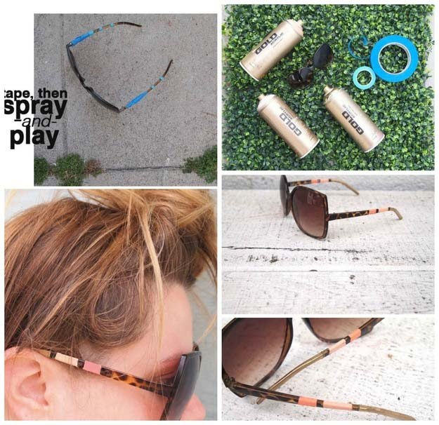 DIY Sunglasses Makeovers - Spray Paing Sunglasses - Fun Ways to Decorate and Embellish Sunglasses - Embroider, Paint, Add Jewels and Glitter to Your Shades - Cheap and Easy Projects and Crafts for Teens http://diyprojectsforteens.com/diy-sunglasses-makeovers