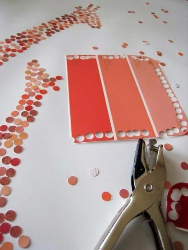 DIY Projects Made With Paint Chips - DIY Paint Chip Art - Best Creative Crafts, Easy DYI Projects You Can Make With Paint Chips - Cool and Crafty How To and Project Tutorials - Crafty DIY Home Decor Ideas That Make Awesome DIY Gifts and Christmas Presents for Friends and Family http://diyjoy.com/diy-projects-paint-chips
