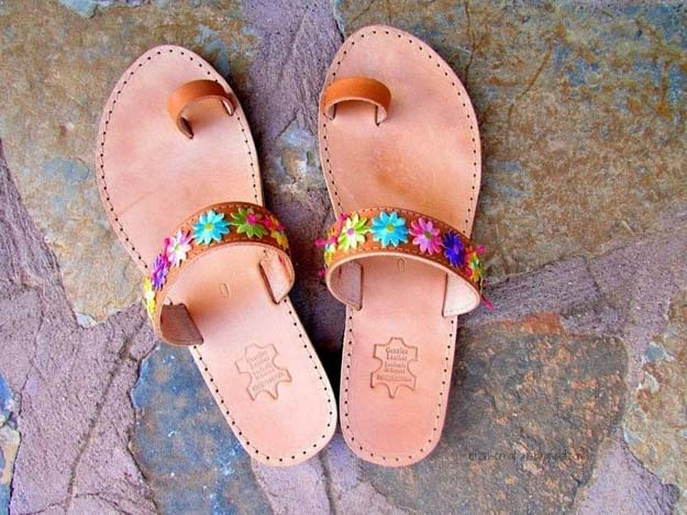 DIY Sandals and Flip Flops - Floral Leather Sandals - Creative, Cool and Easy Ways to Make or Update Your Shoes - Decorate Flip Flops with Cheap Dollar Store Crafts and Ideas - Beaded, Leather, Strappy and Painted Sandal Projects - Fun DIY Projects and Crafts for Teens and Teenagers http://diyprojectsforteens.com/diy-sandals