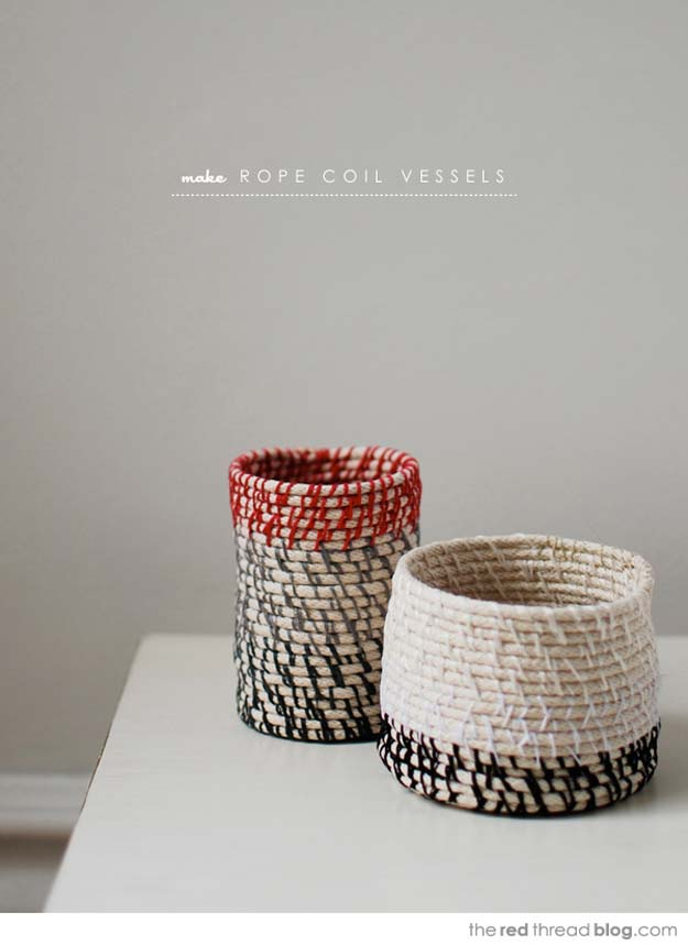 Fun DIY Ideas for Your Desk - How to Make Rope Coil Vessels - Cubicles, Ideas for Teens and Student - Cheap Dollar Tree Storage and Decor for Offices and Home - Cool DIY Projects and Crafts for Teens http://diyprojectsforteens.com/diy-ideas-desk