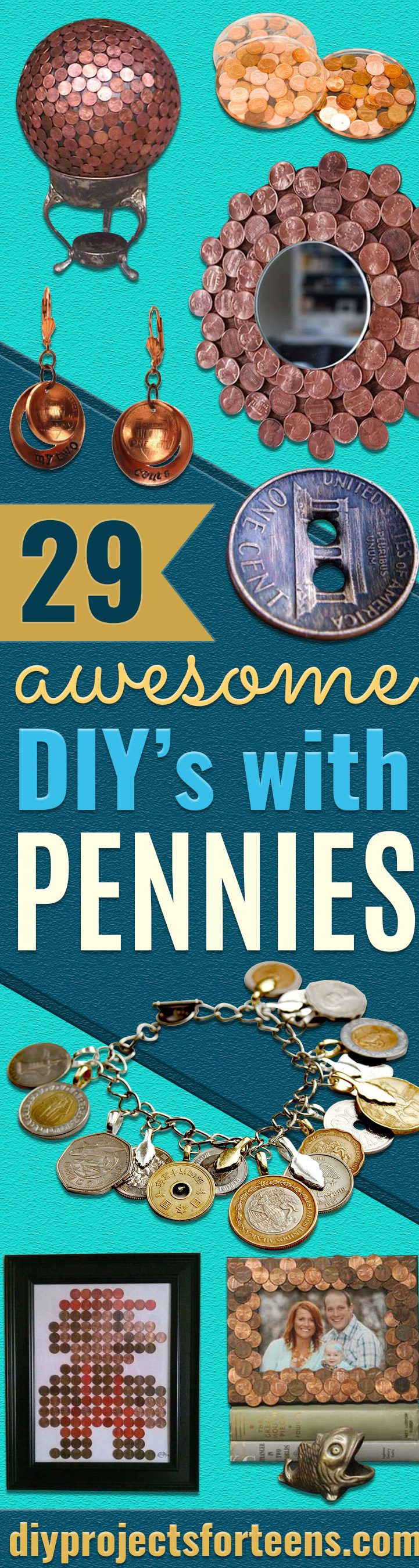 Cool DIYs Made With Pennies and Coins - Penny Walls, Floors, DIY Penny Table. Art With Pennies, Walls and Furniture Make With Money and Coins. Cool, Creative Tutorials, Home Decor and DIY Projects Made With Old Pennies - Cool DIY Projects and Crafts for Teens