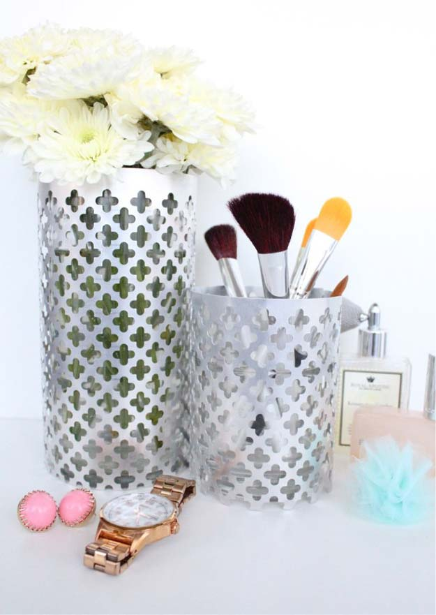 DIY Makeup Organizing Ideas - Aluminum Vase Utensils Holders - Projects for Makeup Drawer, Box, Storage, Jars and Wall Displays - Cheap Dollar Tree Ideas with Cardboard and Shoebox - Wood Organizers, Tray and Travel Carriers http://diyprojectsforteens.com/diy-makeup-organizing