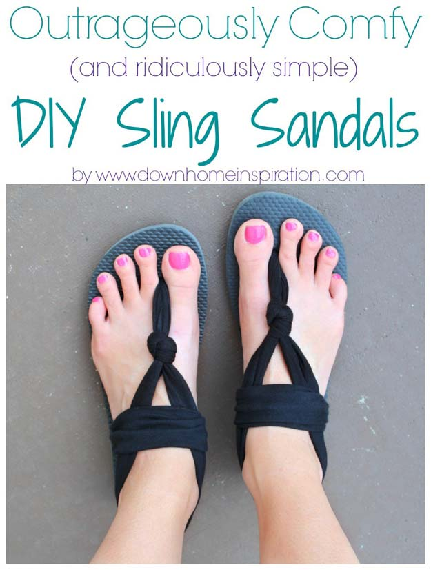 DIY Sandals and Flip Flops - DIY Sling Sandals - Creative, Cool and Easy Ways to Make or Update Your Shoes - Decorate Flip Flops with Cheap Dollar Store Crafts and Ideas - Beaded, Leather, Strappy and Painted Sandal Projects - Fun DIY Projects and Crafts for Teens and Teenagers
