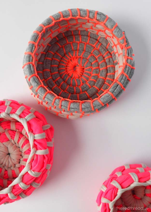 Fun DIY Ideas for Your Desk - Make a Fabric Coil Bowl - Cubicles, Ideas for Teens and Student - Cheap Dollar Tree Storage and Decor for Offices and Home - Cool DIY Projects and Crafts for Teens