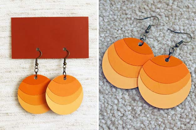 DIY Projects Made With Paint Chips - Paint Chip Ombre Earrings - Best Creative Crafts, Easy DYI Projects You Can Make With Paint Chips - Cool and Crafty How To and Project Tutorials - Crafty DIY Home Decor Ideas That Make Awesome DIY Gifts and Christmas Presents for Friends and Family http://diyjoy.com/diy-projects-paint-chips