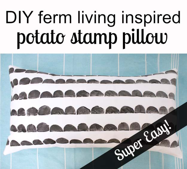 DIY Room Decor Ideas in Black and White - Potato Stamp Pillow - Creative Home Decor and Room Accessories - Cheap and Easy Projects and Crafts for Wall Art, Bedding, Pillows, Rugs and Lighting - Fun Ideas and Projects for Teens, Apartments, Adutls and Teenagers