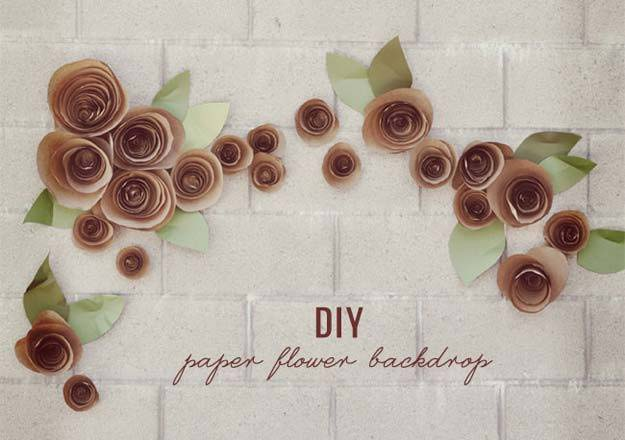 DIY Selfie Ideas - DIY: Paper Flower Backdrop - Cool Ideas for Photo Booth and Picture Station - Props, Light, Mirror, Board, Wall, Background and Tips for Shooting Best Selfies - DIY Projects and Crafts for Teens