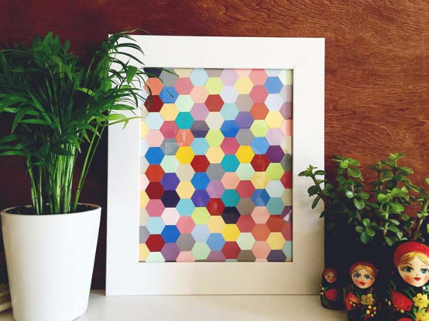 DIY Projects Made With Paint Chips - DIY Hexagon Framed Art - Best Creative Crafts, Easy DYI Projects You Can Make With Paint Chips - Cool and Crafty How To and Project Tutorials - Crafty DIY Home Decor Ideas That Make Awesome DIY Gifts and Christmas Presents for Friends and Family