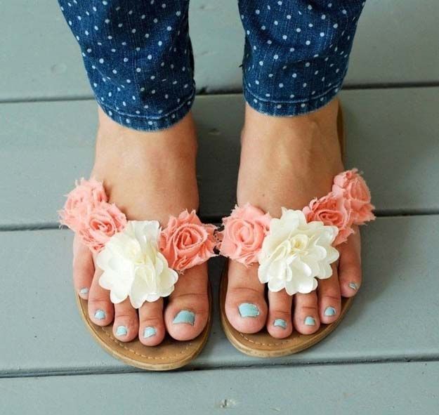 DIY Sandals and Flip Flops - Easy Diy Floral Summer Sandals - Creative, Cool and Easy Ways to Make or Update Your Shoes - Decorate Flip Flops with Cheap Dollar Store Crafts and Ideas - Beaded, Leather, Strappy and Painted Sandal Projects - Fun DIY Projects and Crafts for Teens and Teenagers http://diyprojectsforteens.com/diy-sandals