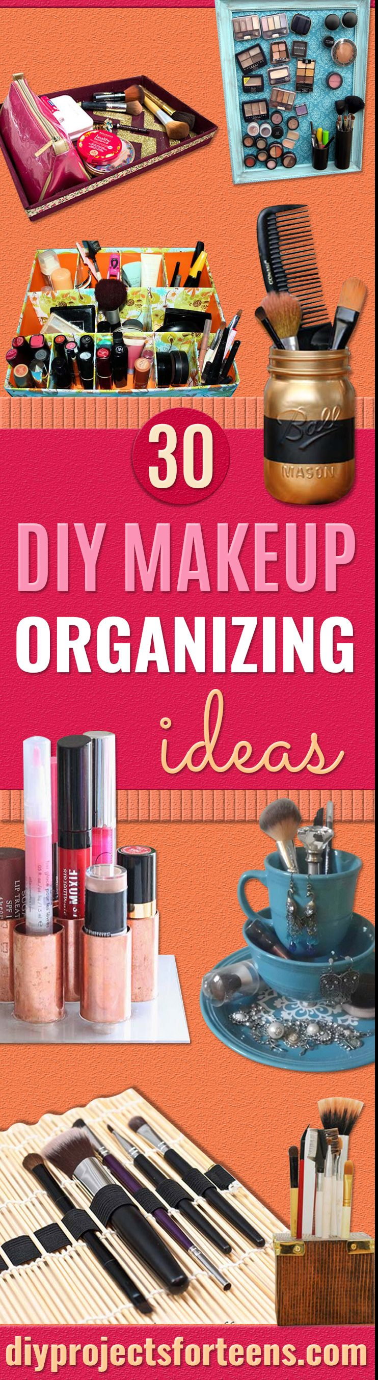 DIY Makeup Organizing Ideas - Projects for Makeup Drawer, Box, Storage, Jars and Wall Displays - Cheap Dollar Tree Ideas with Cardboard and Shoebox - Wood Organizers, Tray and Travel Carriers
