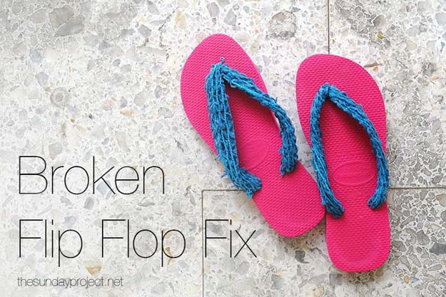 DIY Sandals and Flip Flops - Broken Flip Flop Fix - Creative, Cool and Easy Ways to Make or Update Your Shoes - Decorate Flip Flops with Cheap Dollar Store Crafts and Ideas - Beaded, Leather, Strappy and Painted Sandal Projects - Fun DIY Projects and Crafts for Teens and Teenagers http://diyprojectsforteens.com/diy-sandals
