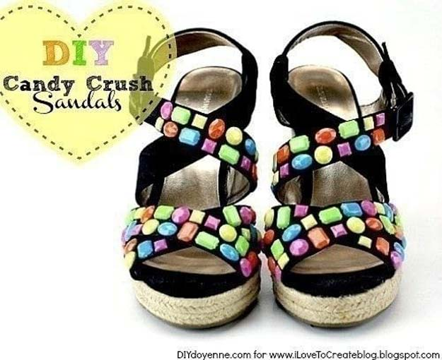DIY Sandals and Flip Flops - DIY Candy Crush Sandal - Creative, Cool and Easy Ways to Make or Update Your Shoes - Decorate Flip Flops with Cheap Dollar Store Crafts and Ideas - Beaded, Leather, Strappy and Painted Sandal Projects - Fun DIY Projects and Crafts for Teens and Teenagers http://diyprojectsforteens.com/diy-sandals