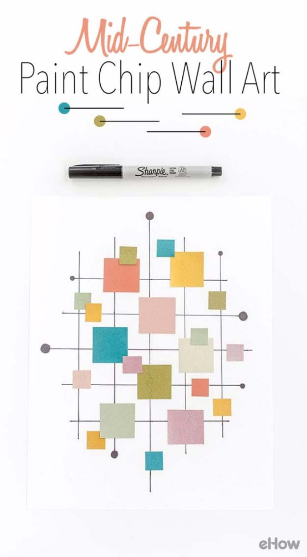 DIY Projects Made With Paint Chips - DIY Mid-Century Inspired Paint Chip Wall Art Print - Best Creative Crafts, Easy DYI Projects You Can Make With Paint Chips - Cool and Crafty How To and Project Tutorials - Crafty DIY Home Decor Ideas That Make Awesome DIY Gifts and Christmas Presents for Friends and Family