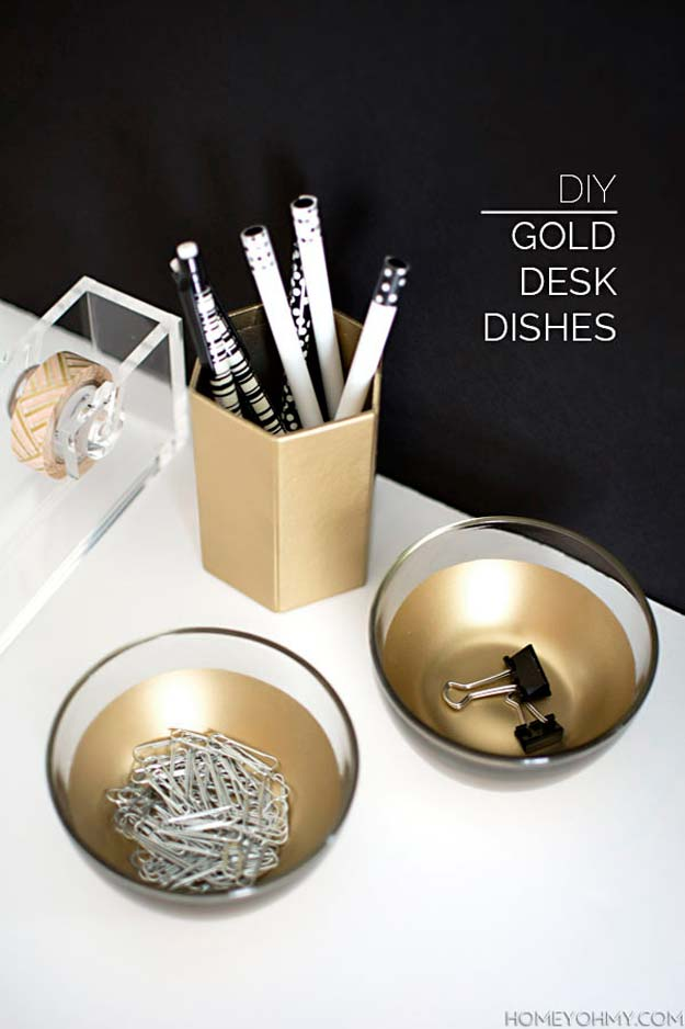 Fun DIY Ideas for Your Desk - Gold Desk Dishes - Cubicles, Ideas for Teens and Student - Cheap Dollar Tree Storage and Decor for Offices and Home - Cool DIY Projects and Crafts for Teens http://diyprojectsforteens.com/diy-ideas-desk