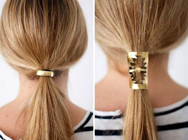 Gold DIY Projects and Crafts - Gold Hair Cuffs - Easy Room Decor, Wall Art and Accesories in Gold - Spray Paint, Painted Ideas, Creative and Cheap Home Decor - Projects and Crafts for Teens, Apartments, Adults and Teenagers
