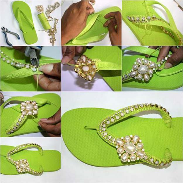 DIY Sandals and Flip Flops - DIY Nice Decorated Flip Flops - Creative, Cool and Easy Ways to Make or Update Your Shoes - Decorate Flip Flops with Cheap Dollar Store Crafts and Ideas - Beaded, Leather, Strappy and Painted Sandal Projects - Fun DIY Projects and Crafts for Teens and Teenagers http://diyprojectsforteens.com/diy-sandals