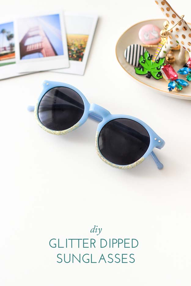 DIY Sunglasses Makeovers - Glitter Dipped Sunglasses - Fun Ways to Decorate and Embellish Sunglasses - Embroider, Paint, Add Jewels and Glitter to Your Shades - Cheap and Easy Projects and Crafts for Teens #diy #teencrafts #sunglasses