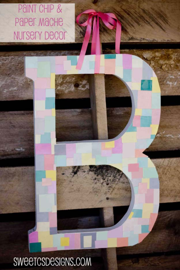 DIY Projects Made With Paint Chips - Paint Chip Monogram - Best Creative Crafts, Easy DYI Projects You Can Make With Paint Chips - Cool and Crafty How To and Project Tutorials - Crafty DIY Home Decor Ideas That Make Awesome DIY Gifts and Christmas Presents for Friends and Family http://diyjoy.com/diy-projects-paint-chips