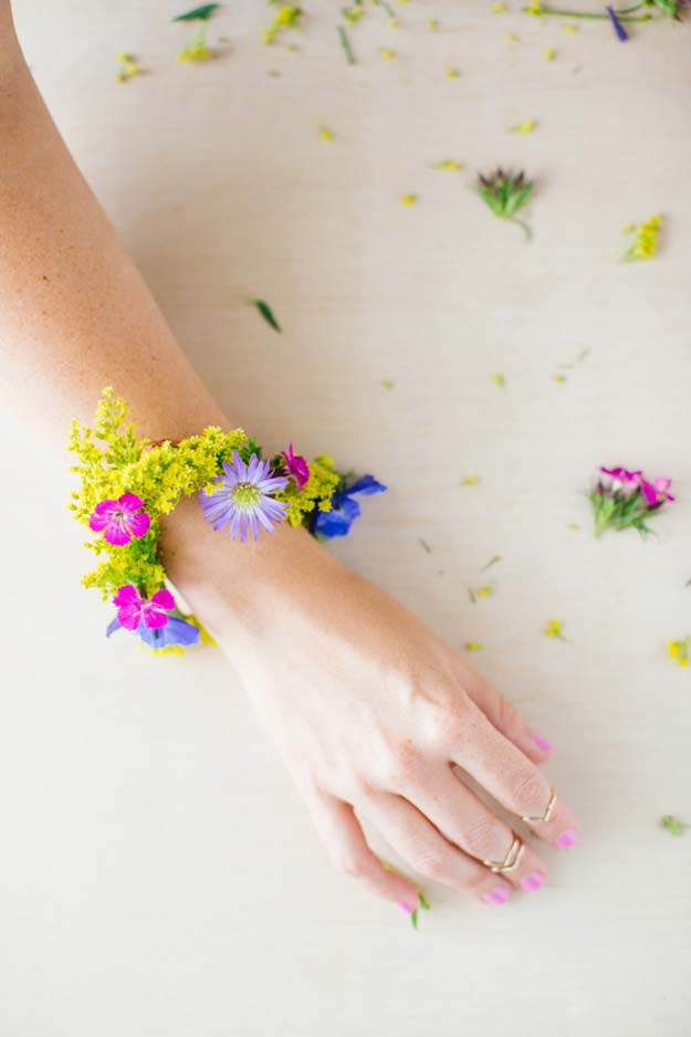 DIY Bracelets - Fresh Flower For Summer Bracelet - Cool Jewelry Making Tutorials for Making Bracelets at Home - Handmade Bracelet Crafts and Easy DIY Gift for Teens, Girls and Women - With String, Wire, Leather, Beaded, Bangle, Braided, Boho, Modern and Friendship - Cheap and Quick Homemade Jewelry Ideas