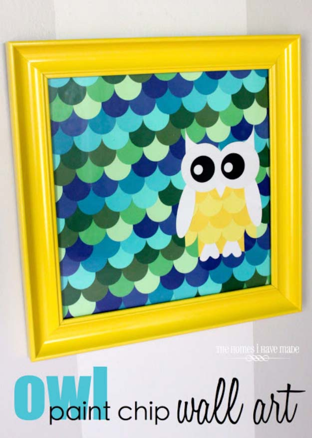 DIY Projects Made With Paint Chips - Owl Paint Chip Wall Art - Best Creative Crafts, Easy DYI Projects You Can Make With Paint Chips - Cool and Crafty How To and Project Tutorials - Crafty DIY Home Decor Ideas That Make Awesome DIY Gifts and Christmas Presents for Friends and Family http://diyjoy.com/diy-projects-paint-chips