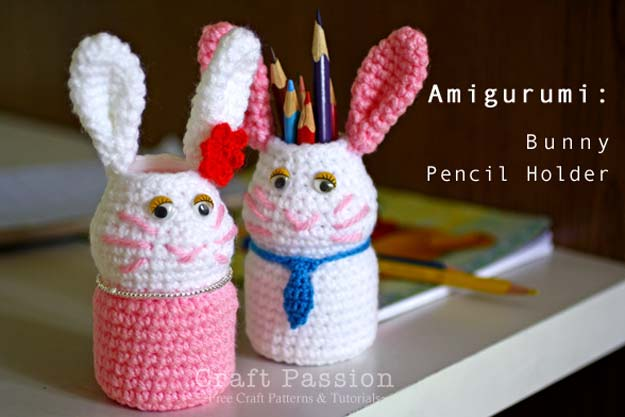 Crafts to Make and Sell - Bunny Holder Amigurumi - Easy Step by Step Tutorials for Fun, Cool and Creative Ways for Teenagers to Make Money Selling Stuff - Room Decor, Accessories, Gifts and More http://diyprojectsforteens.com/diy-crafts-to-make-and-sell