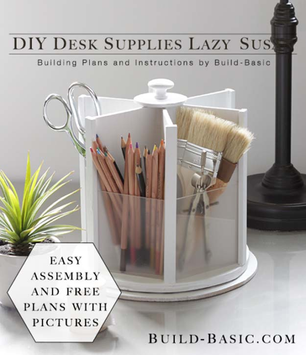 DIY Room Decor Ideas in Black and White - DIY Desk Supplies Lazy Susan - Creative Home Decor and Room Accessories - Cheap and Easy Projects and Crafts for Wall Art, Bedding, Pillows, Rugs and Lighting - Fun Ideas and Projects for Teens, Apartments, Adutls and Teenagers